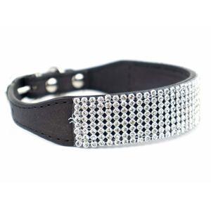 Vsepropejska Daily luxusní obojek pro psa s kamínky | 27 - 37 cm Barva: Černá, Obvod krku: 31 - 37 cm