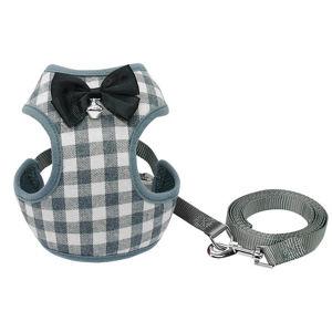 Vsepropejska Jing šedý károvaný postroj pro psa s vodítkem | 30 – 60 cm Barva: Šedá, Obvod hrudníku: 40 - 60 cm