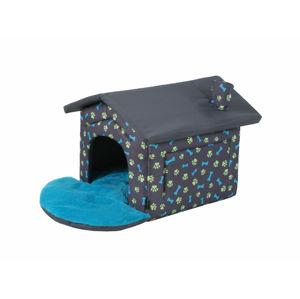I love pets Bouda pro psa s potiskem tlapek Barva: Šedo-modrá, Rozměr: 44 x 41 cm